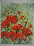 Stillleben mit MohnblütenAquarell mit teils pastosem Tempera-Auftrag signiert. Unbekannter Künstler.