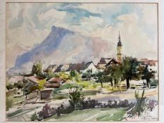ALBERT KNEISSLER: Aquarell Salzburger Ansicht