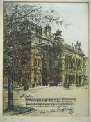 Radierungauf Seide im Passepartout, unter Glas gerahmt. H. 33cm, B. 27cmEtchingon silk in mat,