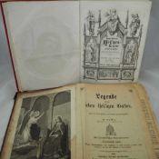 """Zwei Bücher, Heiligen Legende """"Ebner Verlag Ulm"""", um 1850, guter Zustand - neu eingebunden und"""