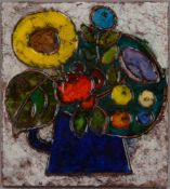 Weichberger, Heide, Künstler-Keramikfliese, 'Blumen' (Jahr und Auflage unbekannt), verso