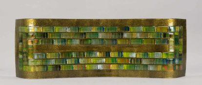 Schale, Künstler-Glasobjekt, Wellenform, Klarglas goldfarben hinterlegt, mit aufgelegten