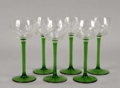 Satz Weingläser, Kristallglas, Kuppa mit geschliffenem Dekor, 6 Stück