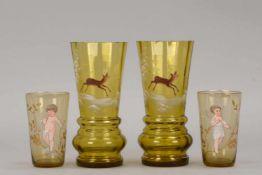 Kleines Gläser-Konvolut (Biedermeier), mit feiner Emaille-Malerei, 4 Stück: 2x Gläser mit Wildmotiv,