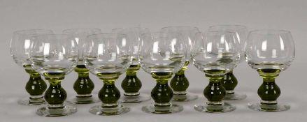 Satz Weißweingläser, Klarglas, mit grünem Mittelfuß, 10 Stück