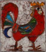 Weichberger, Heide, Künstler-Keramikfliese, 'Hahn' (Jahr und Auflage unbekannt), verso