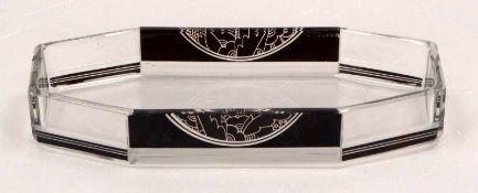 Palda, Karl (Karel), Art déco-Stiftablage (1920er Jahre), farbloses Glas/partiell mit Schwarzlot-