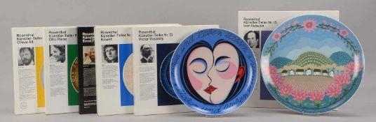 Rosenthal, kleine Sammlung Künstlerteller, Nr.'4', Nr.'8', Nr.'13', Nr.'15', Nr.'16', und Nr.'17',