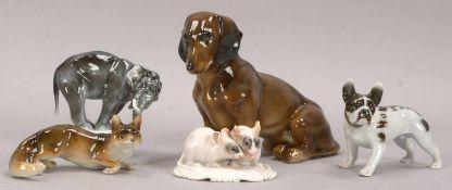 Konvolut Porzellan-Tierfiguren, verschiedene Ausführungen, jeweils farbig gefssst, 5 Stück/