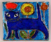 Weichberger, Heide (1922 - 1980, Worpsweder Keramikkünstlerin), Wandbild, 'Blaue Katze mit