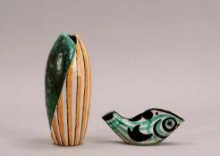 Liebenthron, Gerd (Bremer Keramikkünstler), 3 Künstler-Keramiken: 2x Vasen, jeweils mehrfarbig