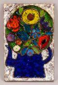 Weichberger, Heide (1922 - 1980, Worpsweder Keramikkünstlerin), Wandbild, 'Blumen in blauem Krug',