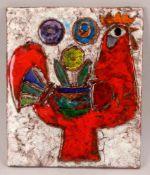 Weichberger, Heide (1922 - 1980, Worpsweder Keramikkünstlerin), Wandbild, 'Roter Hahn', Keramik