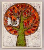 Weichberger, Heide (1922 - 1980, Worpsweder Keramikkünstlerin), Wandbild, 'Taube im Baum', Keramik