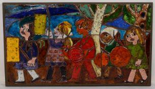 Weichberger, Heide (1922 - 1980, Worpsweder Keramikkünstlerin), großes Wandbild, 'Laternenkinder',