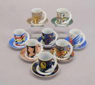 Rosenthal, Konvolut Porzellan-Sammeltassen, unterschiedliche Künstlermotive, 8 Stück