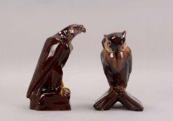 2 Keramikfiguren, 'Eule' und 'Adler', jeweils polychrom glasiert: 1x Höhe 24,5 cm, und 1x Höhe 26,