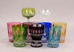 Satz Trinkgläser, Bleikristall/handgeschliffen, farbig, 6 Stück; dazu einzelnes Glas und 2x