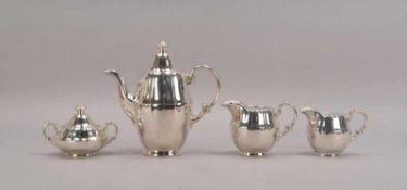 WMF, Kaffeeporzellan, schweres Silver-Overlay, 4-teilig: 1 Kaffeekanne, Zuckertopf und 2x