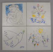 Zirconio/Spanien, 4x Keramikfliesen, mit Siebdruck, 'Picasso'-Motiv, in limitierter Auflage, 4