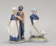 Royal Copenhagen, 2 Porzellanfiguren, jeweils polychrom staffiert, signiert, Entwurf: Christian