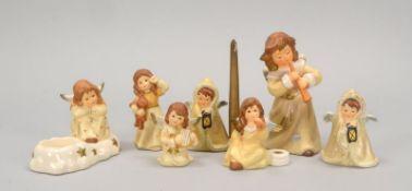 Goebel, Porzellanfiguren, verschiedene Größen, 7 Stück: 1x 'Flötenengel', 1x 'Träumerle im