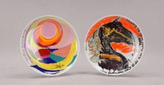 Rosenthal, 2x Porzellan-Künstlerteller: 1x 'Nr. 9', Entwurf: Hildegard Knef, Durchmesser Ø 26 cm;