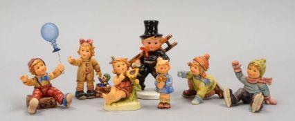 Hummel/Goebel, Porzellanfiguren, verschiedene Größen, 8 Stück; jeweils in Originalverpackung