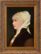 Porzellan-Bildplatte, 'Brustbildnis einer Dame mit Haube und Kreuzanhänger', feinste