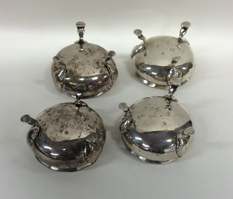 Lot 15 - A good set of four heavy silver salts with reeded