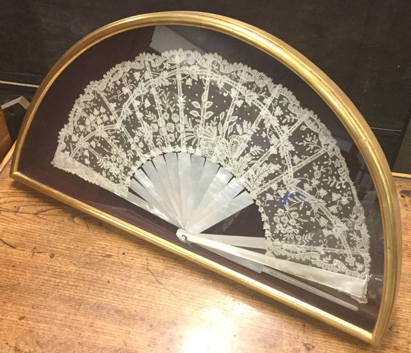 Lot 8 - An attractive framed, glazed and mounted fan with