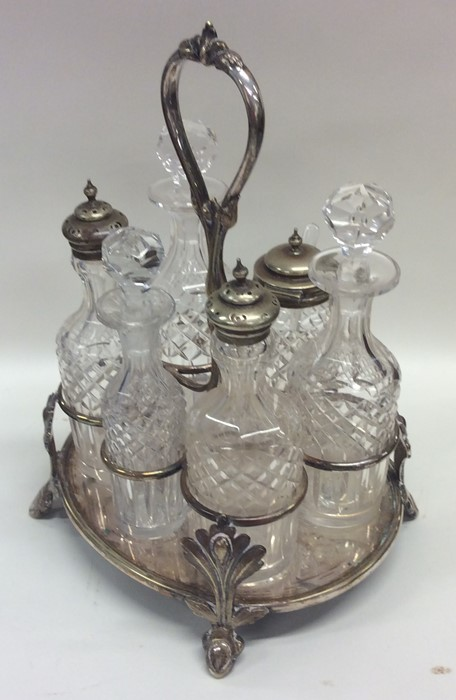 Lot 37 - A good quality silver plated six bottle cruet with