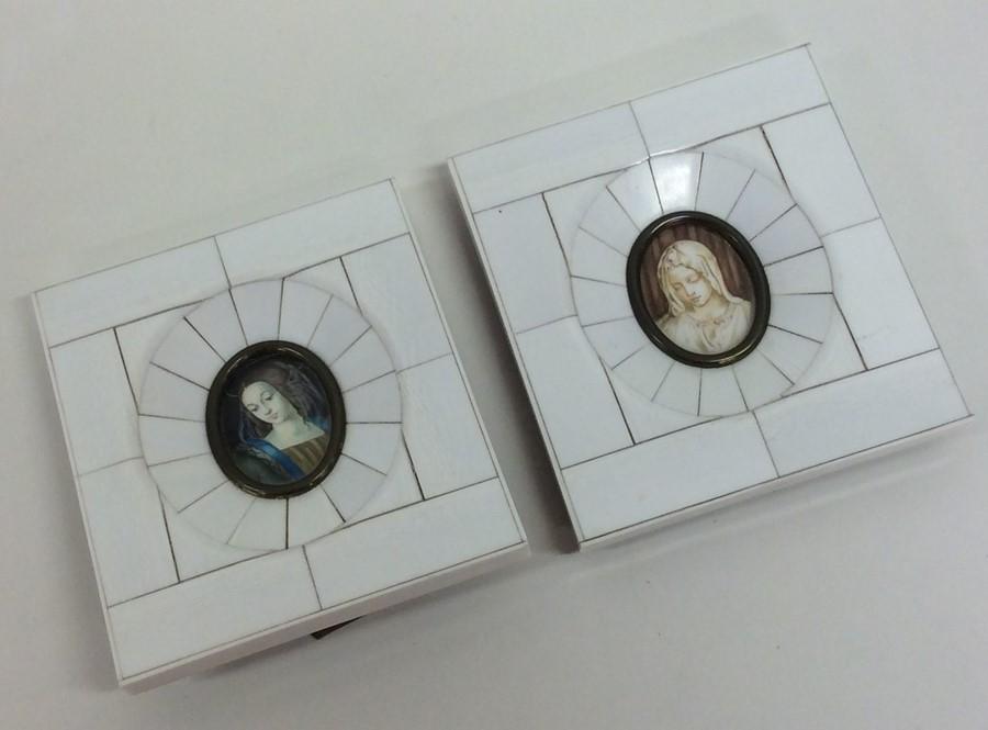 Lot 4 - A pair of rectangular bone miniatures depicting re