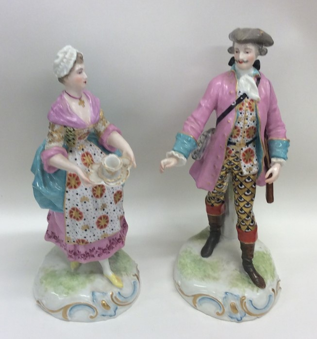 Lot 24 - A good pair of decorative Continental figures in b