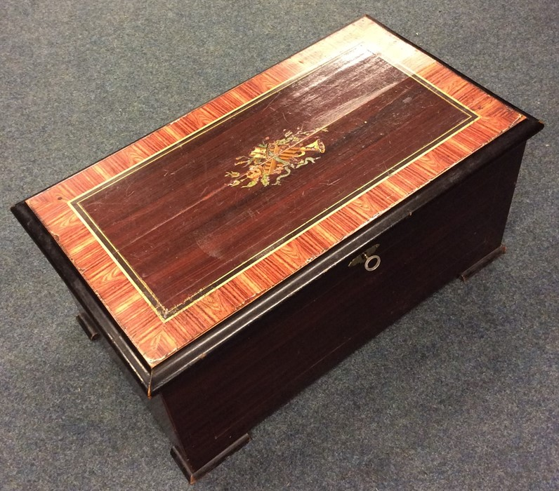 Lot 19 - A large French hinged top music box decorated with