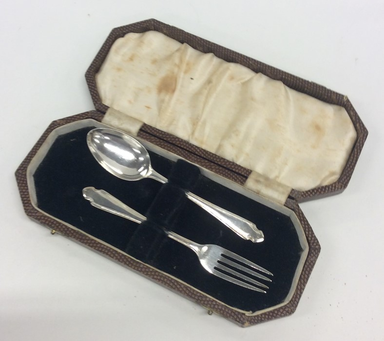 Lot 5 - An Edwardian silver cased two piece christening se