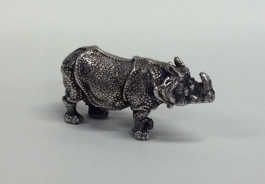 Lot 11 - A Continental silver model of a rhino with texture