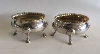 A pair of good quality Georgian silver oval salts