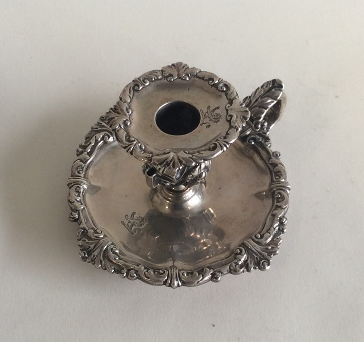 Lot 25 - A good Victorian silver chamber stick with crested