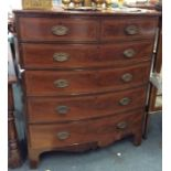 A good mahogany five drawer bow front chest with b