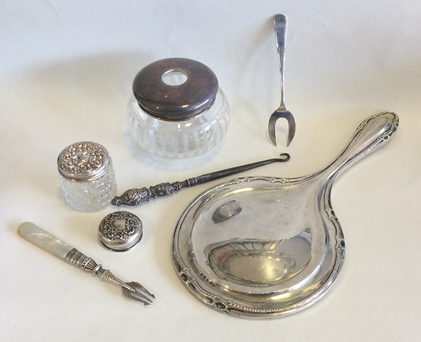 Lot 19 - A bag containing silver hand mirror, dressing tabl