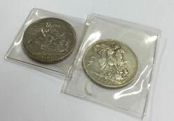 An 1893 silver Crown together with one other. Appr
