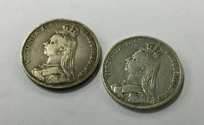 An 1892 Crown together with one other. Approx. 55
