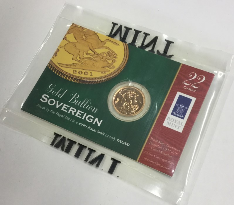 Lot 34 - A proof Royal Mint 2001 full sovereign contained i