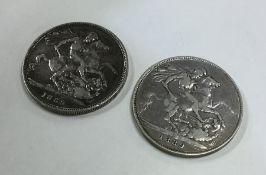 Two 1889 Crowns. Approx. 56 grams. Est. £20 - £30.