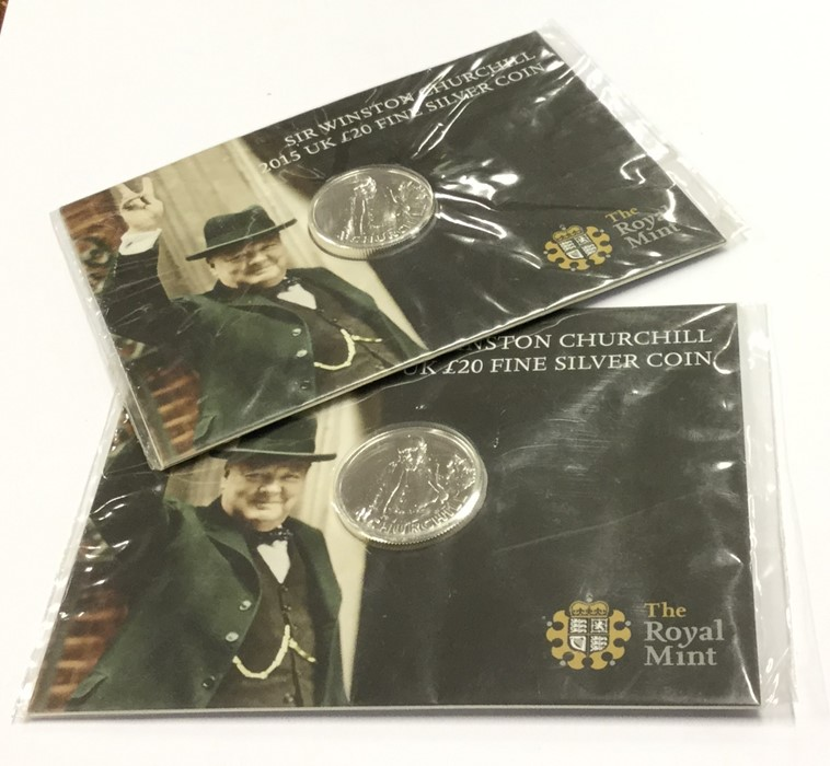 Lot 4 - Two silver proof Winston Churchill £20 coins. Est.