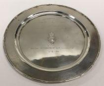 A Chinese silver circular salver with bamboo effec