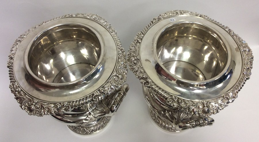 A rare pair of magnificent silver wine coolers, th - Image 5 of 6