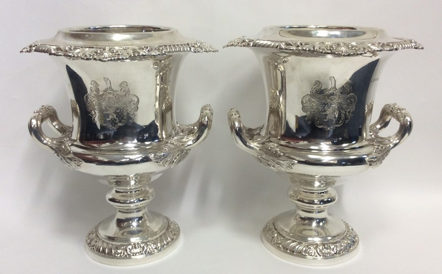 A rare pair of magnificent silver wine coolers, th