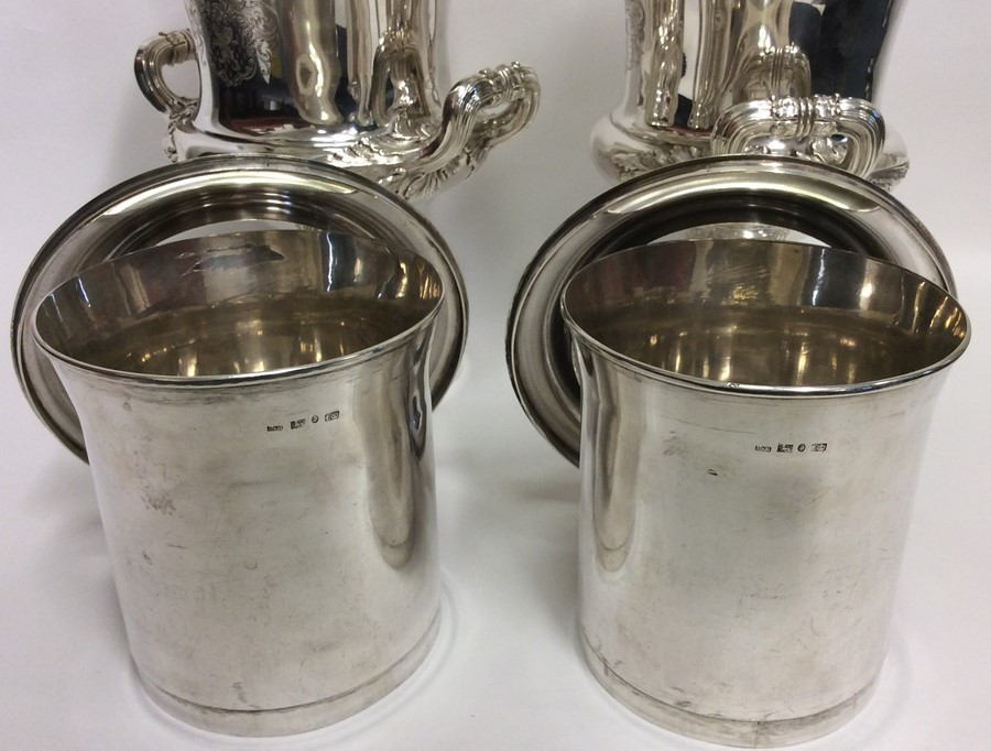 A rare pair of magnificent silver wine coolers, th - Image 6 of 6